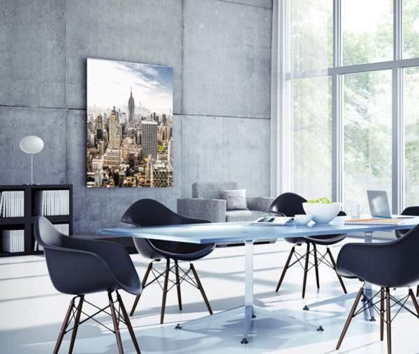 Glasbild Manhattan Skyline im Wohnzimmer
