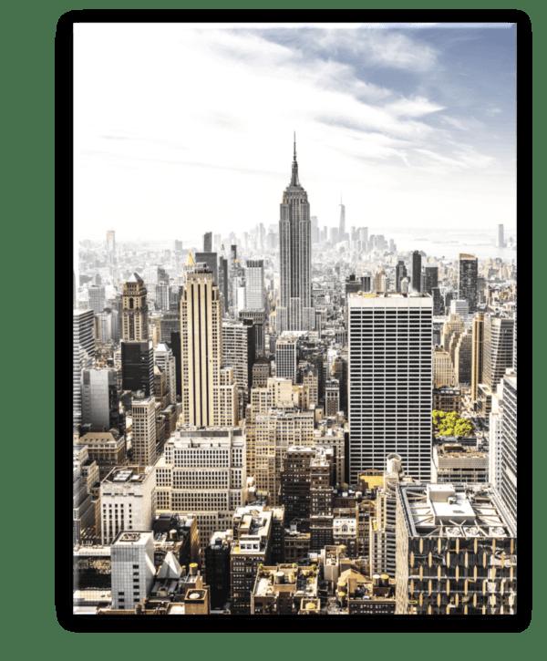 Glasbild Manhattan Skyline