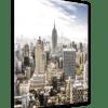 Glasbild Manhattan Skyline Ansicht schräg