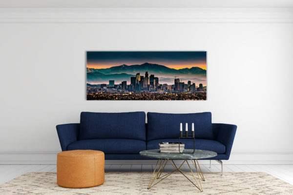 Glasbild Los Angeles – Metallic Shining Effect im Wohnzimmer