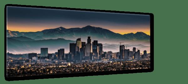 Glasbild Los Angeles – Metallic Shining Effect Ansicht schräg