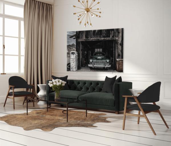 Glasbild Green Car – Metallic Shining Effect im Wohnzimmer