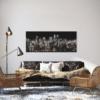 Glasbild Shining City – Metallic Shining Effect im Wohnzimmer