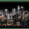 Glasbild Shining City – Metallic Shining Effect