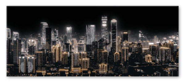 Glasbild Shining City – Metallic Shining Effect