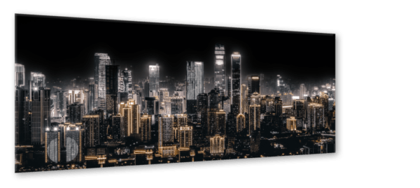 Glasbild Shining City – Metallic Shining Effect Ansicht schräg