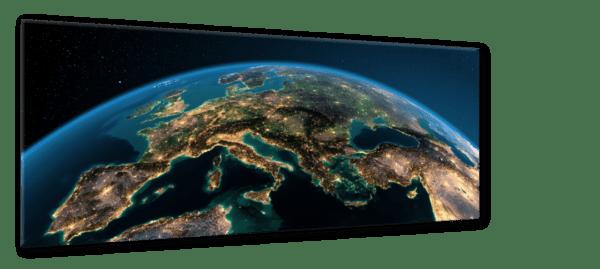 Glasbild Globe – Metallic Shining Effect Ansicht schräg