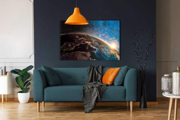 Glasbild Stars – Metallic Shining Effect (im Wohnzimmer)