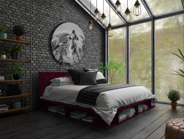 Glasbild Wolves – rund im Schlafzimmer