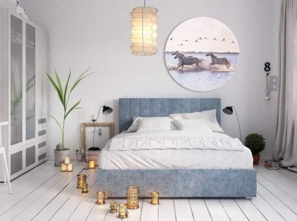 Glasbild Horses – rund im Schlafzimmer