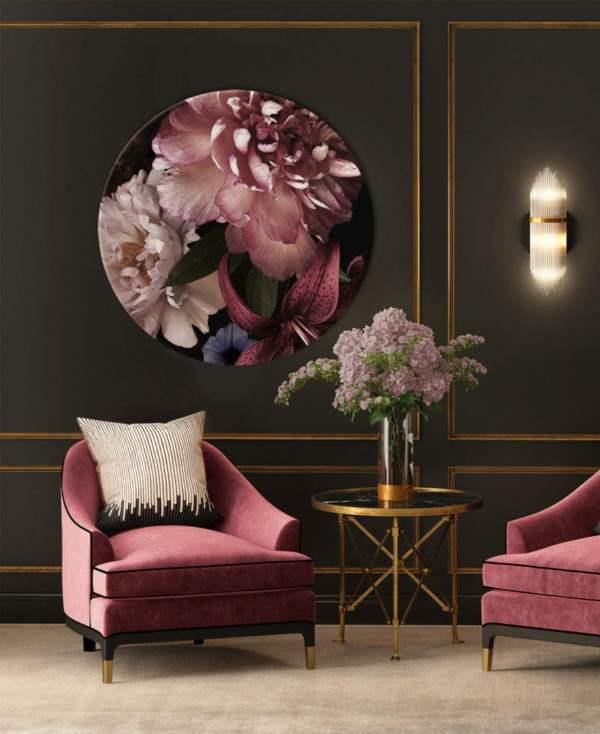Glasbild Rosalia – rund im Wohnzimmer