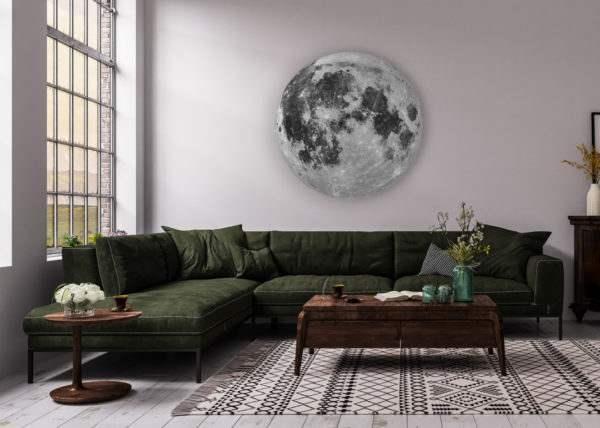 Glasbild Moon – rund im Wohnzimmer
