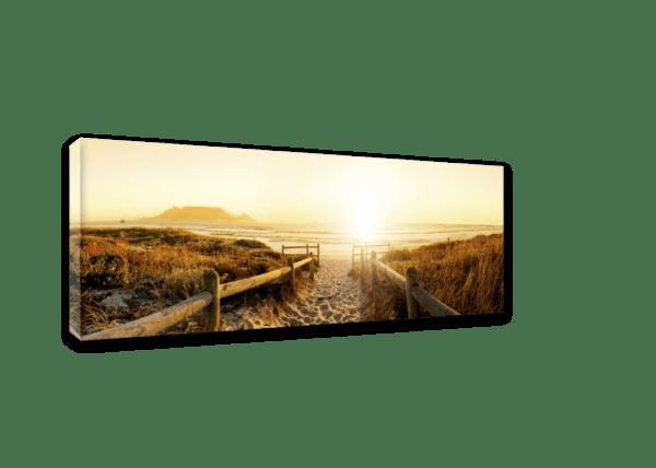 Wandbild Weg zum Strand | Leinwand | 45 x 140 cm Ansicht schräg