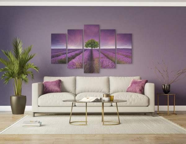 Leinwandbild Lavendel – Mehrteiler im Wohnzimmer