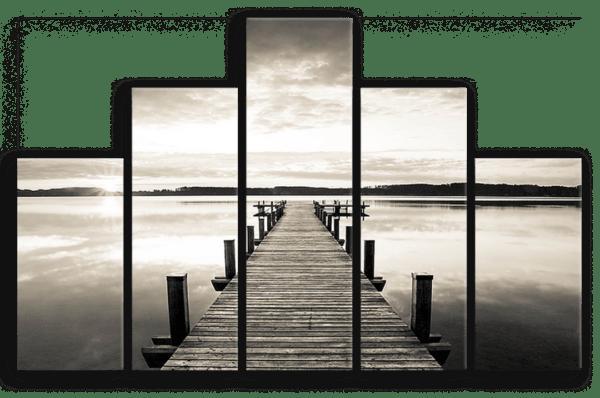 Leinwandbild Steg am Wasser – Mehrteiler