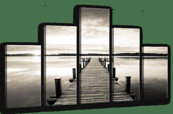 Leinwandbild Steg am Wasser – Mehrteiler Ansicht schräg
