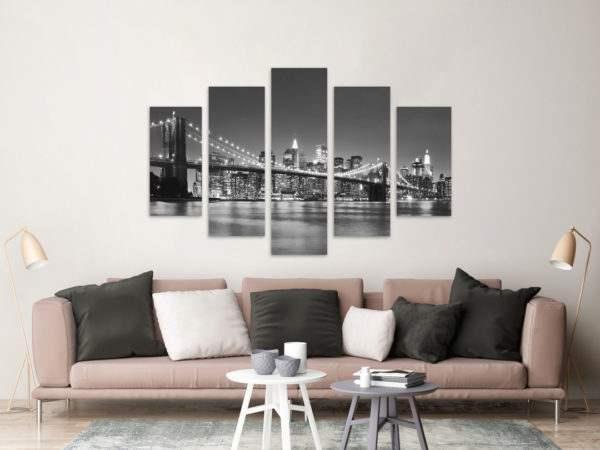 Leinwandbild Skyline – Mehrteiler im Wohnzimmer