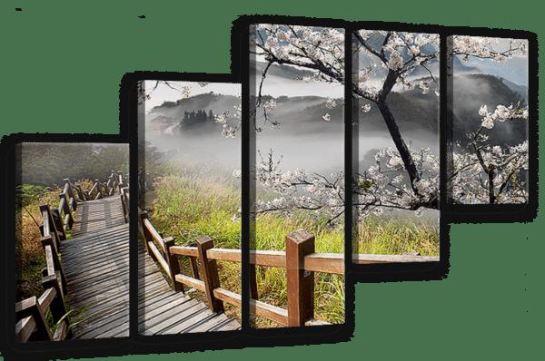 Leinwandbild Treppe in den Bergen – Mehrteiler Ansicht schräg