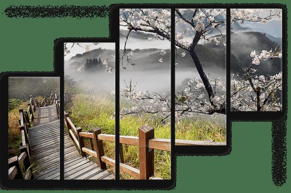 Leinwandbild Treppe in den Bergen – Mehrteiler