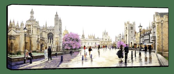 Leinwandbild Cambridge – Wasserfarben Ansicht schräg