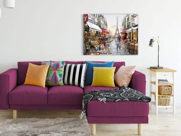 Leinwandbild Gasse in Paris – Wasserfarben im Wohnzimmer