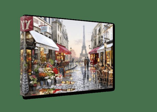 Leinwandbild Gasse in Paris – Wasserfarben Ansicht schräg