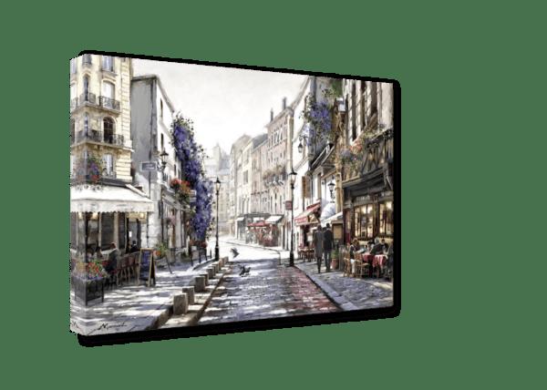 Leinwandbild Straße in Paris – Wasserfarben Ansicht schräg