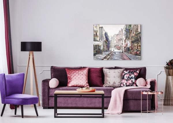 Leinwandbild Straße in Paris – Wasserfarben im Wohnzimmer