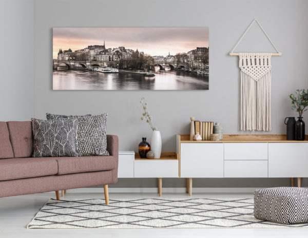 Leinwandbild Seine – Panorama im Wohnzimmer