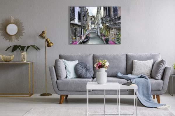 Leinwandbild Kanal in Venedig – Wasserfarben im Wohnzimmer