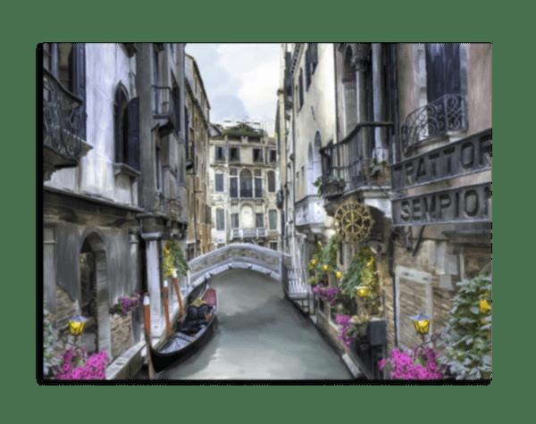 Leinwandbild Kanal in Venedig – Wasserfarben