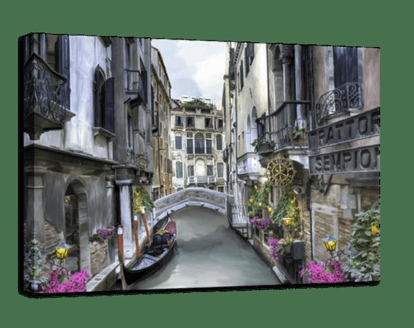 Leinwandbild Kanal in Venedig – Wasserfarben Ansicht schräg