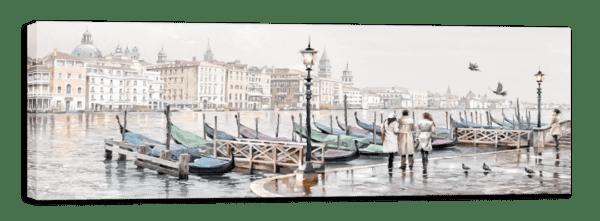 Leinwandbild Venedig Gondeln – Wasserfarben Ansicht schräg