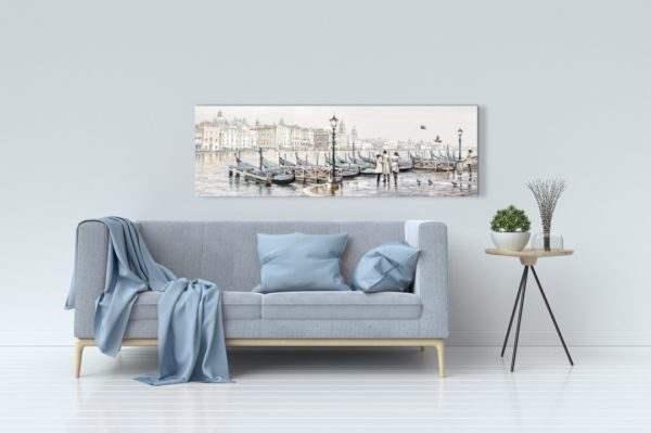 Leinwandbild Venedig Gondeln – Wasserfarben im Wohnzimmer
