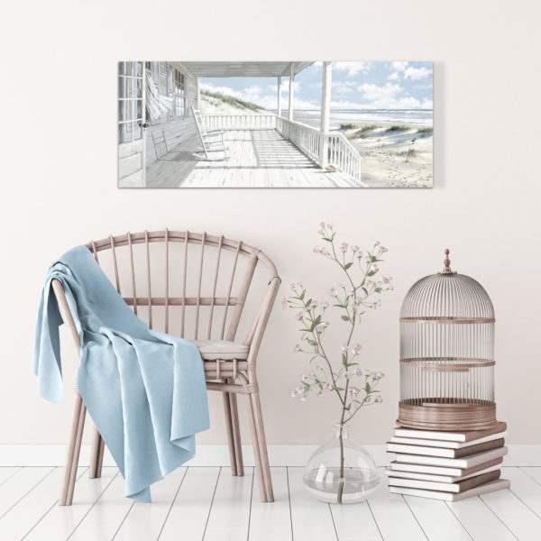 Leinwandbild Haus am Strand im Wohnzimmer