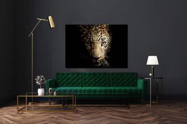 Leinwandbild Leopard im Wohnzimmer