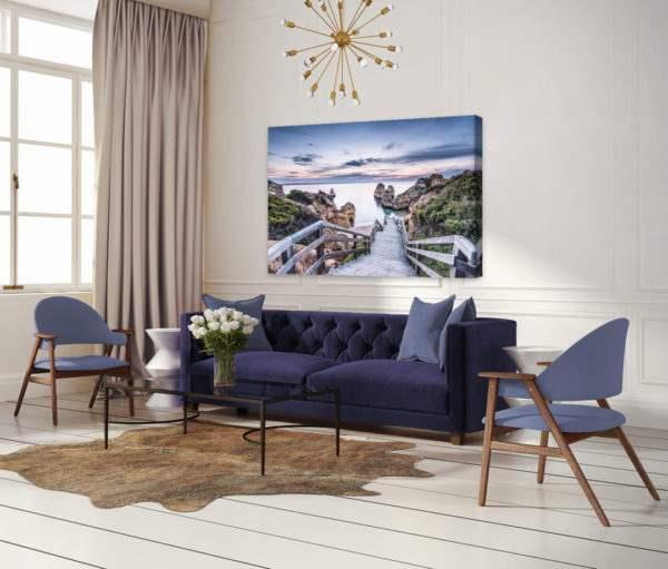 Leinwandbild Praia – Panorama im Wohnzimmer