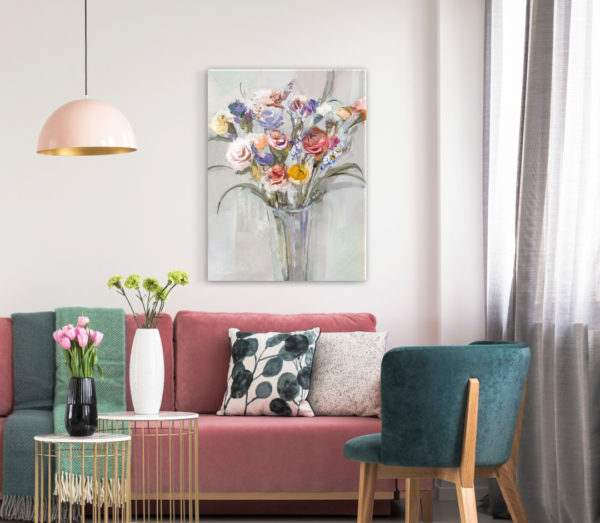 Leinwandbild Vase im Wohnzimmer