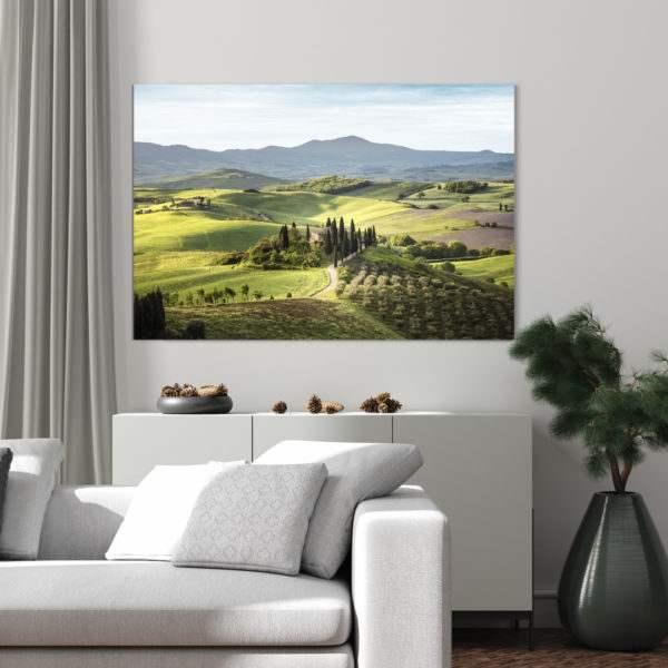 Glasbild Tuscany im Wohnzimmer