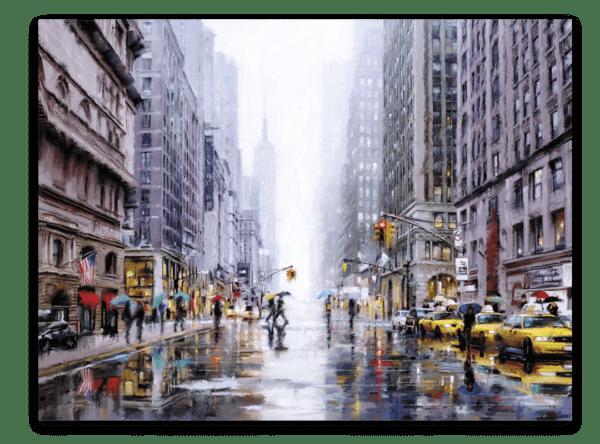 Leinwandbild Yellow Taxi – Wasserfarben