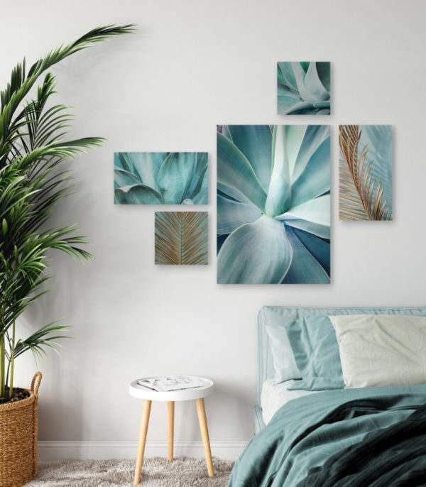 Leinwandbild Mint Agave – Mehrteiler im Schlafzimmer