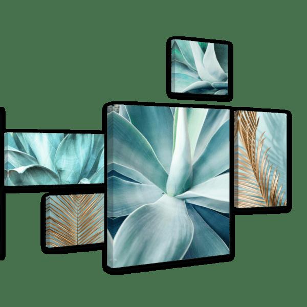 Leinwandbild Mint Agave – Mehrteiler Ansicht schräg