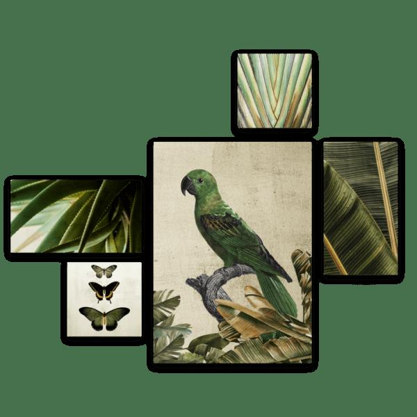 Leinwandbild Green Bird – Mehrteiler