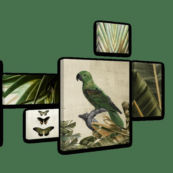 Leinwandbild Green Bird – Mehrteiler Ansicht schräg