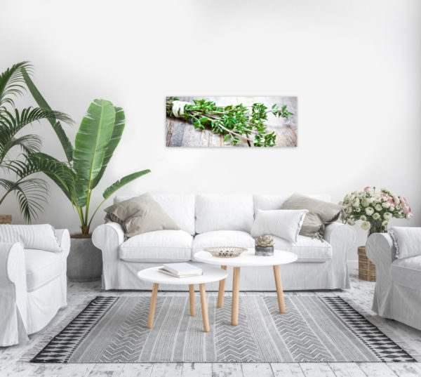 Glasbild Green Herb im Wohnzimmer