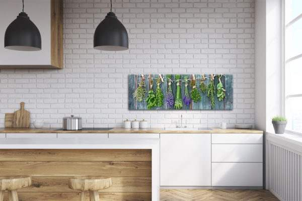 Glasbild Blue Herbs in der Küche