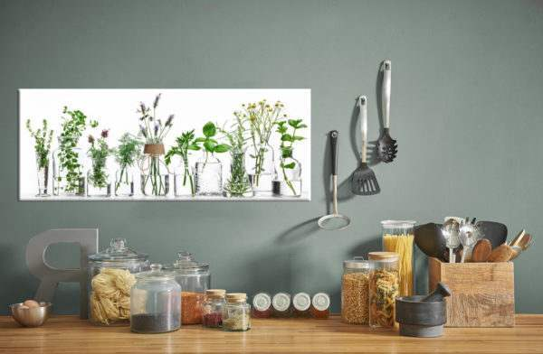 Glasbild Herbs in der Küche