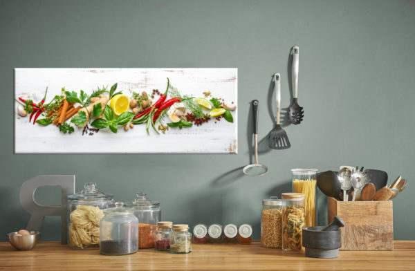 Glasbild Shabby Herbs in der Küche