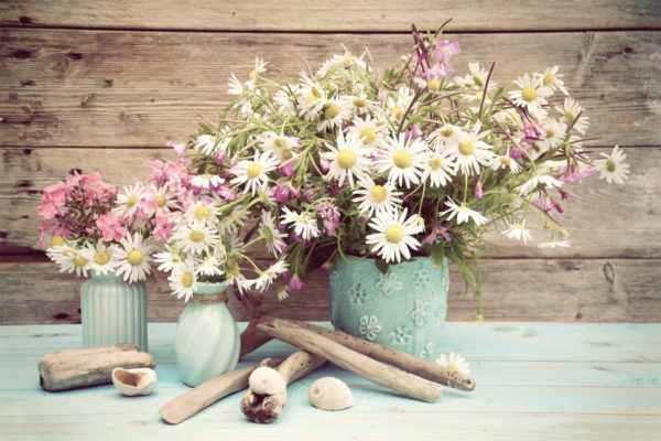 Leinwandbild Vintage Blumenvasen