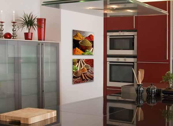 Glasbild Gewürzauswahl in der Küche